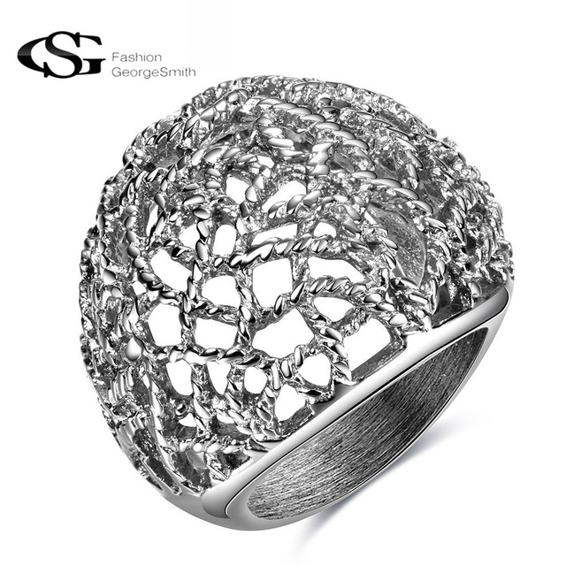 Gs Stainless Steel Rings For Women Men Silver Color Bride Elegant Hollow Wedding