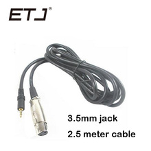 Profissional de Áudio do Microfone Comprimento Do Cabo Metro 2.5×3.5mm Jack Baixo Ruído