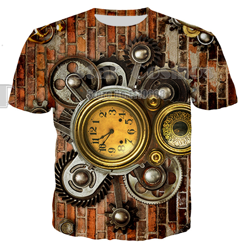 Newest Summer Style Fashion Print Short sleeve Tees Men Mechanical colorful Printing 3D women unisex T shirt plus size