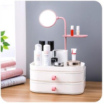 Organisateur de maquillage créatif pour cosmétiques bureau maquillage stockage Mini rouge à lèvres parfum bureau organisateur boîte avec miroir
