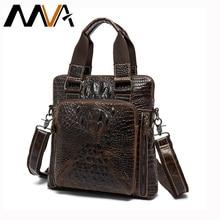 MVA New Designer Men Bag Genuine Cow Leather Man Shoulder Crossbody Handbag Aligator Pattern Leather Male Messenger Bag 8831