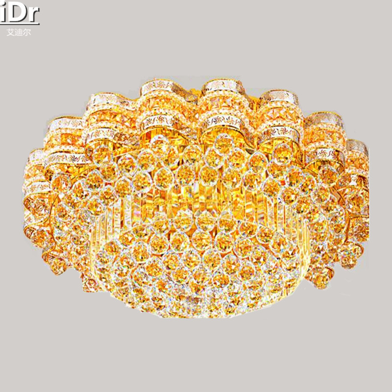 Gold Crystal Living Room Lamp Led Hotel Lighting Round Yellow Patch Explosion Models Ceiling Lights Dia800mm