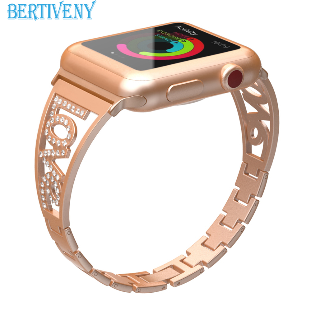 Women Watch band for Apple Watch Bracelet 38mm 40mm/42mm 44mm diamond Stainless Steel Strap for iwatch series 4 3 2 1 42mm 38mm for apple watch s3 series 3