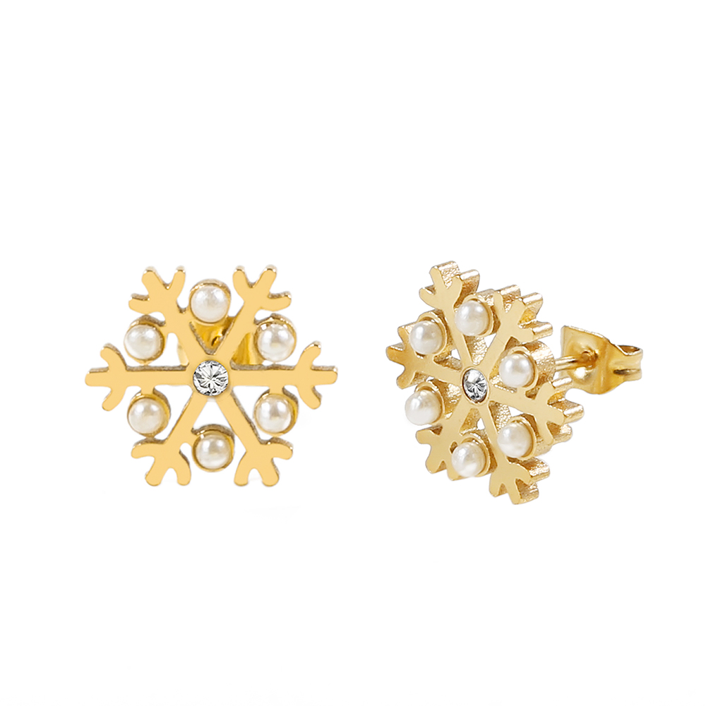 Fashion Pearl Stud Earrings Simple Retro Gold Snowflake Earrings Are Not Faded Not Allergic Party and Daily Wear for Women GifFashion Pearl Stud Earrings Simple Retro Gold Snowflake Earrings Are Not Faded Not Allergic Party and Daily Wear for Women Gif