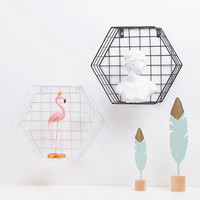 Nordic home wrought iron grid wall shelf Kitchen bathroom storage ideas Punch free dormitory decoration wall hanging Fashion