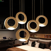 Post Modern Creative Aluminium Ring Led Pendant Light 3 Color Temperatures Dimmable Hanging Lamp
