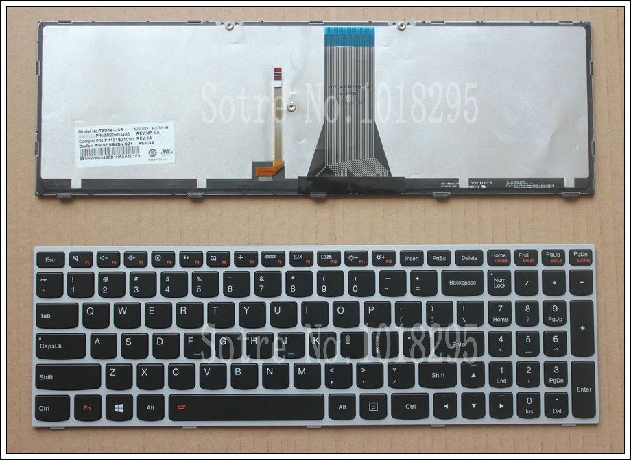 New for LENOVO 500-15 500-15ACZ 500-15ISK 80K4 Backlit US English Laptop Keyboard new us keyboard for acer aspire vn7 793g vx5 591g vx5 591g 52wn us laptop keyboard with backlit