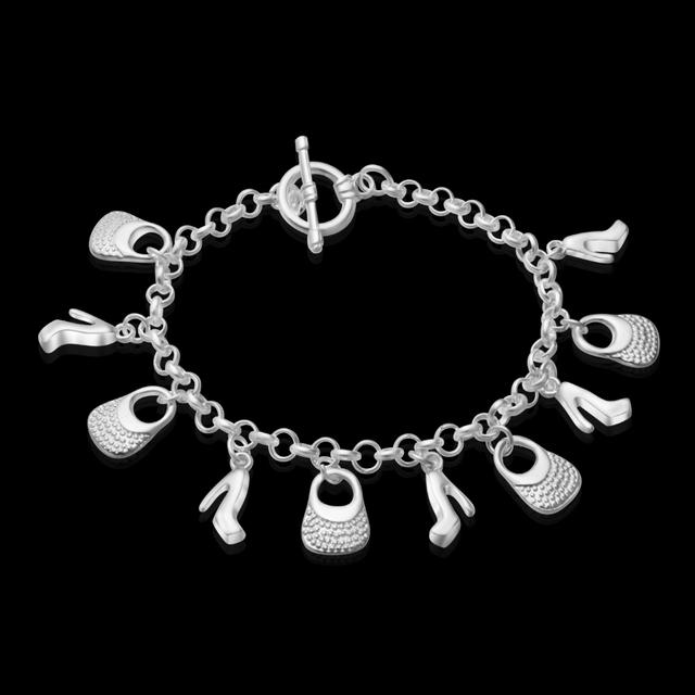 Al por mayor! envío libre de plata chapada pulsera esterlina de plata-joyería de moda pulsera del encanto del bolso Colgantes Pulsera S187