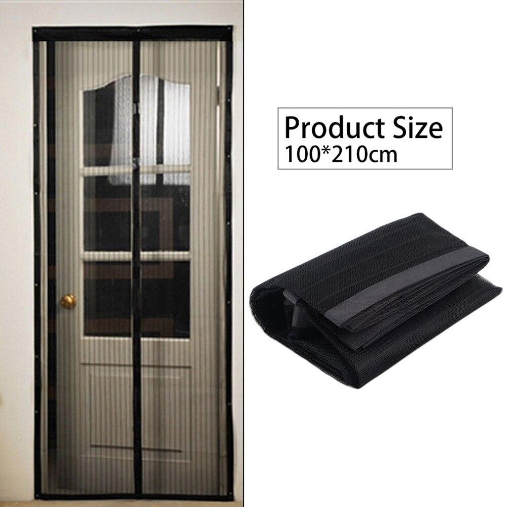 OUTAD negro verano 100X210 cm magnética mosquitera Anti-Mosquito malla cortinas puerta Tulle ventana de la pantalla automática cierre