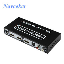 Navceker ZY-HS17 4K 3 Port HDMI Switch Audio Extractor Support ARC & IR Remote HDMI Switch 3×1 Toslink/SPDIF 1.4 HDMI Switch Box
