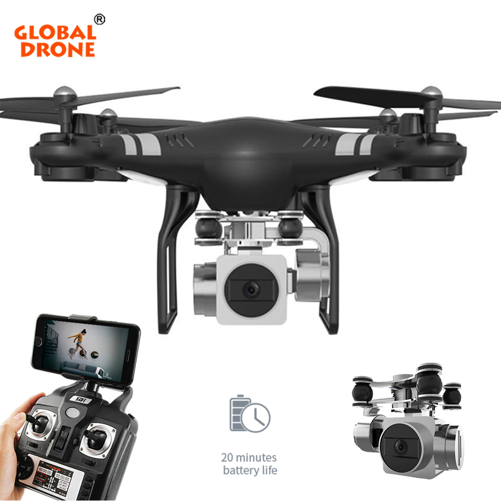 Global Drone RC Quadcopter Hover Wifi FPV Dron Headless Mode One Key Return Drones with Camera Wide Angle 1080P HD VS syma x5 360 degree 170 wide angle lens sh5hd drones with camera hd quadcopter rc drone wifi fpv helicopter hover flip live video photo