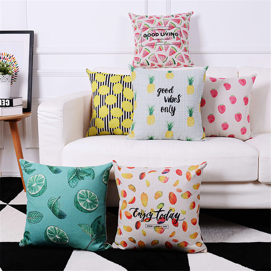 2019 New Style Tropical Fruit Cushion Covers Popular Watermelon Pineapple Lemon Throw Pillow Cases Happy Camper Decor Dining Chair Pillowcase Electronic Components & Supplies Active Components