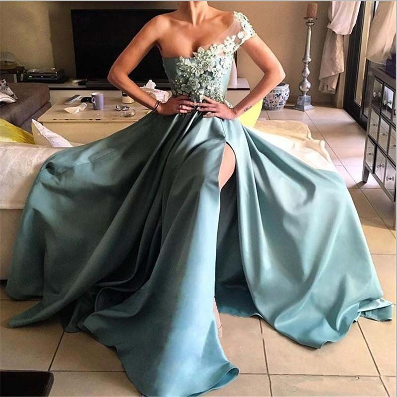 Glamorous Appliques Prom Gowns One-Shoulder Split Long Evening Gown Floor-Length Fashion Formal Party Dress Custom Made gown