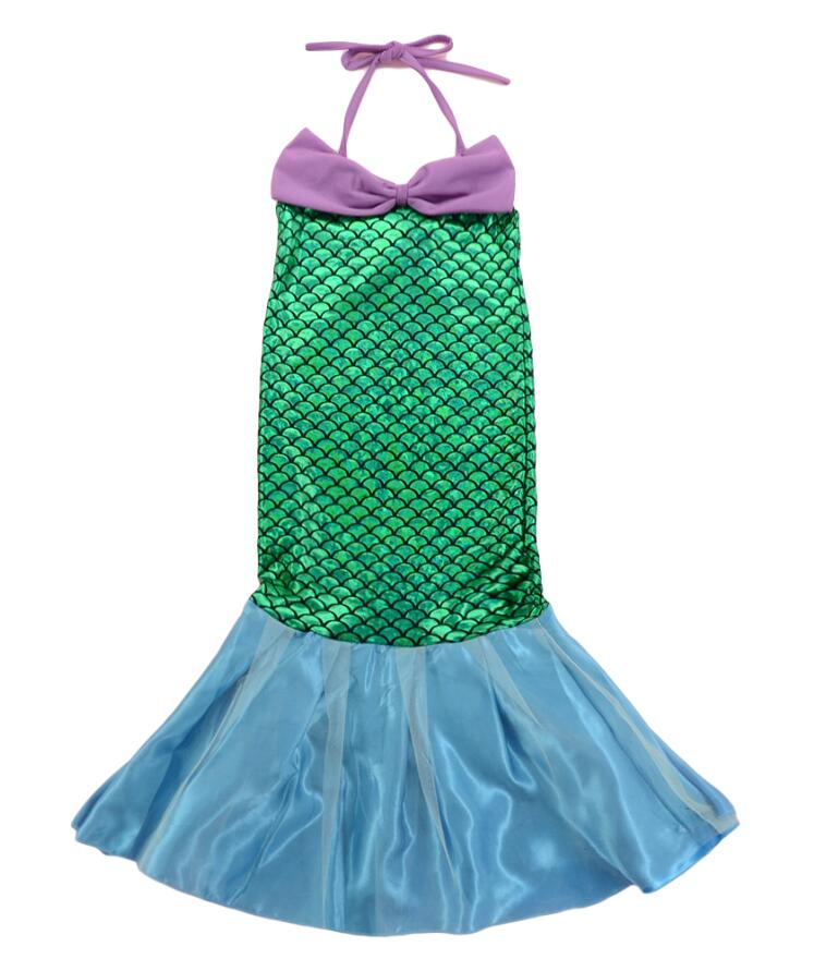 Girls Childs Green Mermaid Sea Nautical Fish Tail Princess Fancy Dress Costume