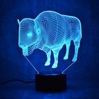 LED Lampa Stołowa Lampy Remote Touch Scalpers 3D Zwierząt Krowa 7 Kolor Zmiana USB Kryty Lampa Atmosfera 3D Światło Nocne