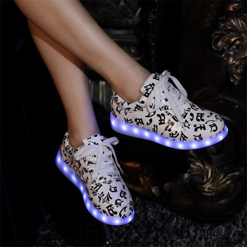 Led Brillantes Con Colores Zapatos Hombres Luces De Los