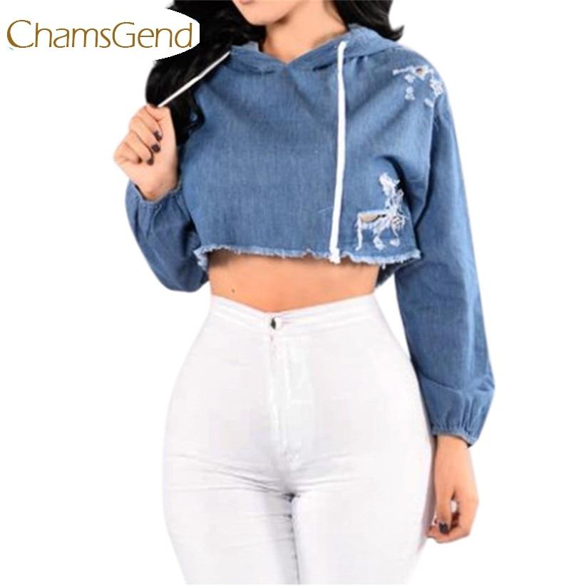Chamsgend Fashion Women Jeans Hole Crop Top Hoodie Sweatshirt Autumn Winter  Blue Streetwear Outfit Drop Ship 170718-in Hoodies   Sweatshirts from  Women s ... 0aed1e4fcc