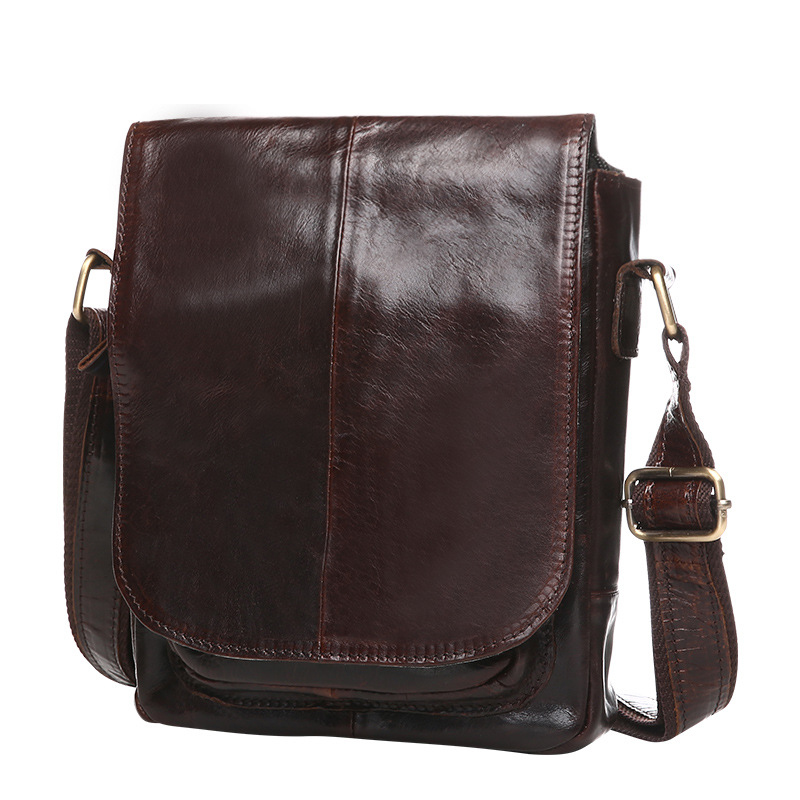 Fashion Brief Men Soft Genuine Leather Business Messenger Bag Party Cow Leather Solid Color Cover Small Shoulder Bag Friend Gift