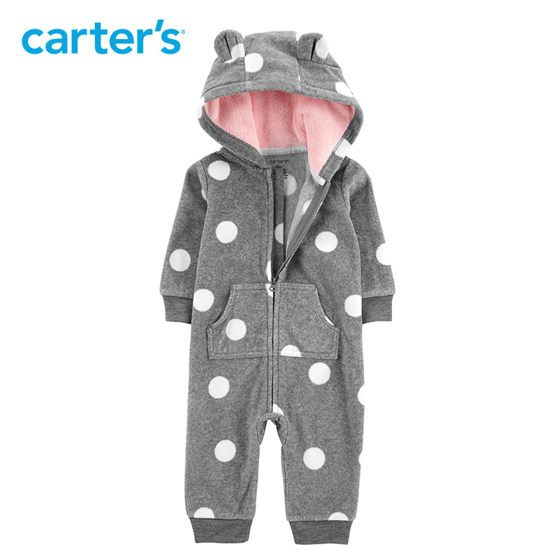 3525b98ac Carters baby rompers cute ear hooded fleece jumpsuit baby girl ...