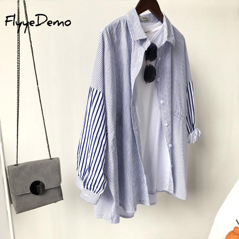 Women Batwing Sleeve Turn Down Collar Blous Summer 2020 New Fashion Striped Shirt Loose Tops Plus Size Blusas Roupas Femininas