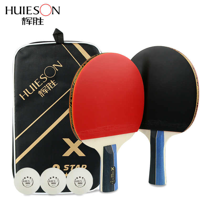 2 Pieces/Set Table Tennis Rackets Ping Pong Paddle Long/Short Handle Double Face Table Tennis Racket Set With 3 table tennis