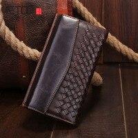 AETOO O novo tecido carteira de couro por atacado de moda carteira longa Coreano versão horizontal de cera de petróleo Do Vintage