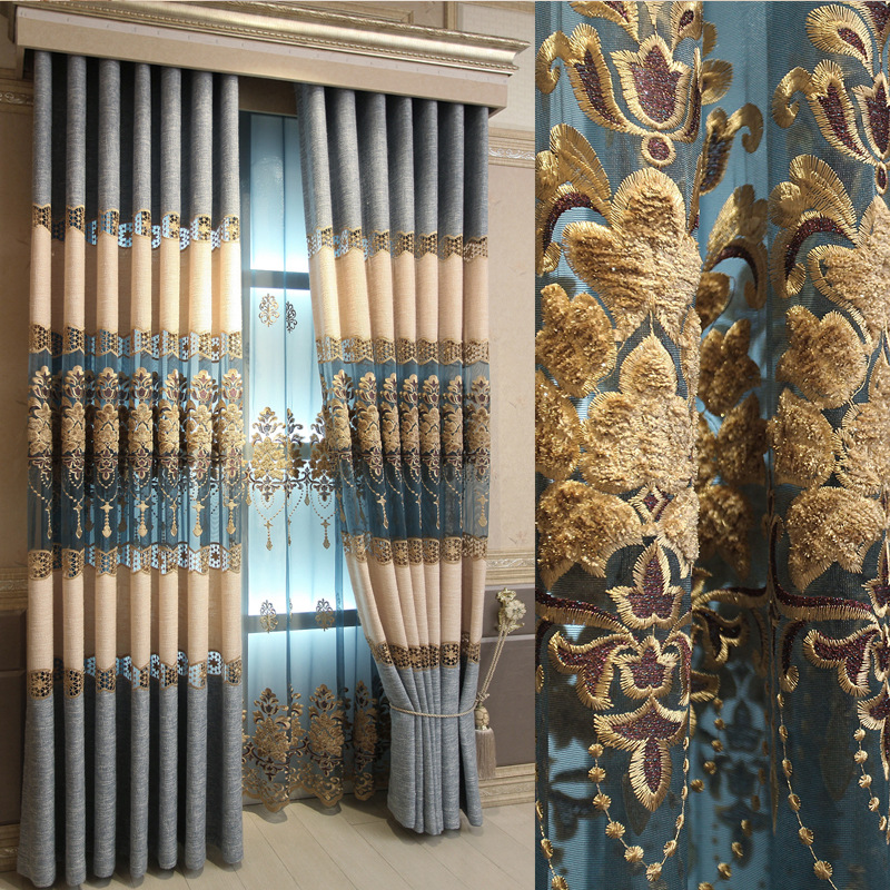 High end European Flax Material Embroidered Half Shading Curtain and Tulle for Bedroom Living Room Kitchen Window