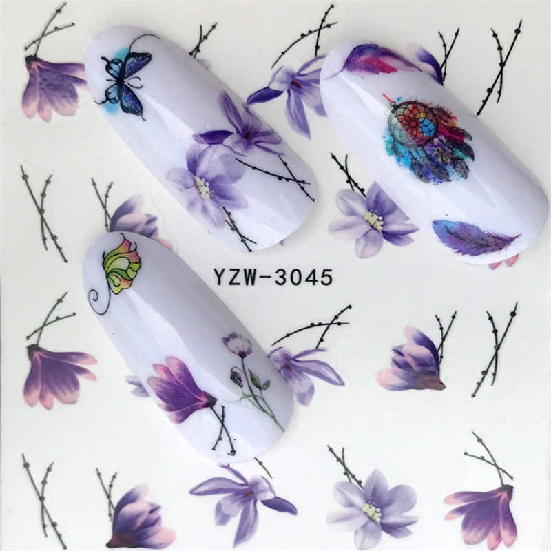 FWC 1 PCS Hot Designs Water Purple Beautiful Flower Sticker Nail Art Sticker Nail Foils for DIY Manicure Decorations