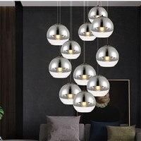 Moderne Überzogene Glas Anhänger licht Spiegel Ball beleuchtung indoor lampe wohnzimmer dinig restaurant dekoration hängen fxiture AC110 265v-in Pendelleuchten aus Licht & Beleuchtung bei