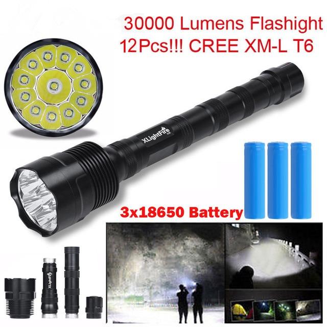 Высокое Качество XLightFire 30000 Люмен 12x CREE XML T6 5 Режим LED Фонарик 3X18650 Батареи