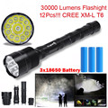High Quality  XLightFire 30000 Lumens 12x CREE XML T6 5 Mode LED Flashlight 3X 18650 Battery