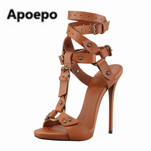 Zapatos Mujer Black Brown Sexy Stiletto High Heels T-bar Rivet Studded Platform Sandalias Buckle Strap Gladiator Sandals Women sexy high heel sandals women 2016 confortable platform square heels sandalias mujer buckle strap shoes woman free shipping