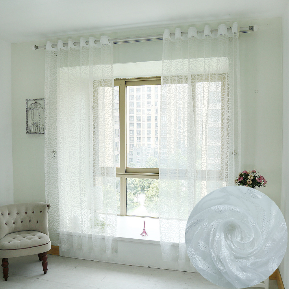 Simple window curtains - Latest Morden Fashion Simple Burnout White Flower Sheer Window Curtain For Living Room Solid Tulle Bedding Room Home Decoration
