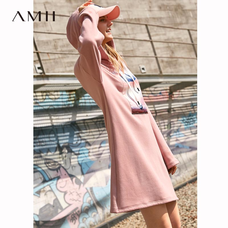 Amii minimaliste femmes à capuche robe automne hiver 2018 Preppy Style Appliques lâche imprimé chaud sweat-shirt robe
