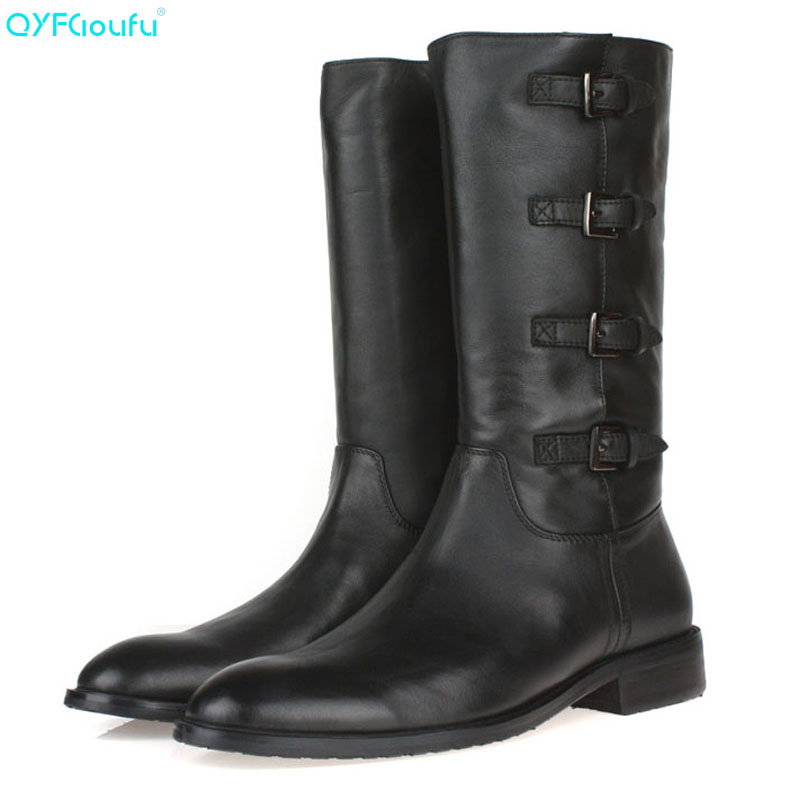 3d9bd83acc79 QYFCIOUFU High Quality Mens Black High Boots Fashion Forward Back Buckle  Man Black Martin Boots Men Genuine Leather Long Boots