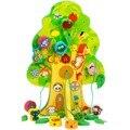 2016 новое поступление дети пользу образовательных деревянная игрушка животное фруктовых деревьев дом натягивающие бусины ребенка подарок на день рождения