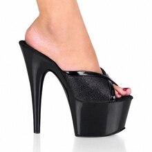 Weibliche Sandelholze 7 Zoll Offene spitze Hausschuhe Mit Helle Glitter Schuhe 17 cm Ultra High Heels Hausschuhe Sexy Lady Partei schuhe
