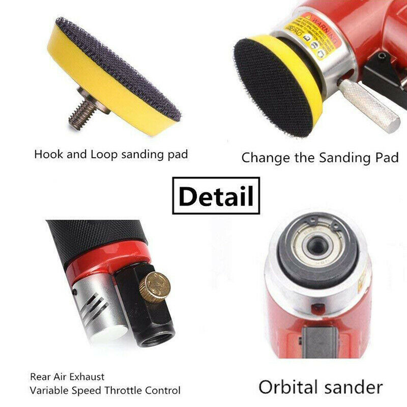 Tools : 2inch 3inch Mini Air Sander Kit Pad Eccentric Orbital Dual Action Pneumatic Polisher Polishing Buffing Tools For Auto Body