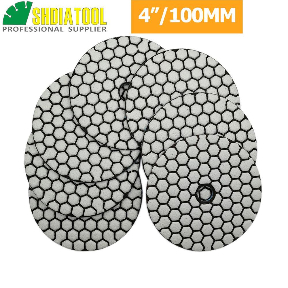 SHDIATOOL 7pcs/set 4 In Diamond Dry Polishing Pads Dia100mm Sanding Disc Polishing Marble Granite Polisher Disc Polishing Disc