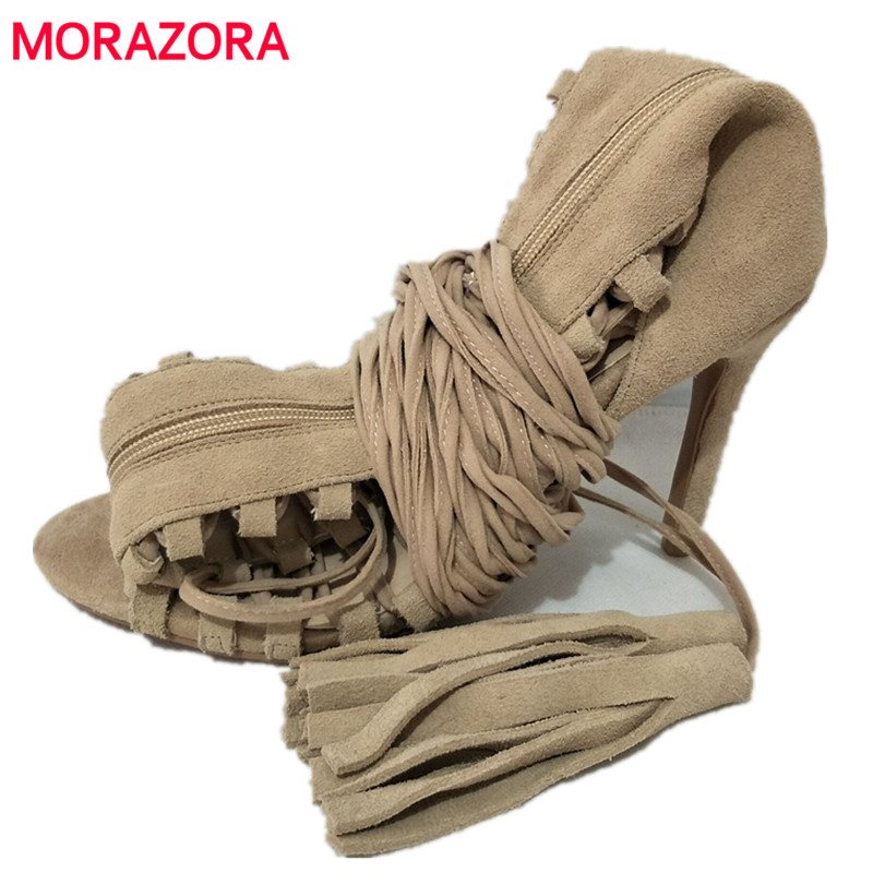 MORAZORA Plus size 34-43 new sexy knee high gladiator sandals high heels lace up suede summer boots thin heels party dance shoes brand designer faux leather strappy roman goth gladiator thong lace up bandage sandals knee high boots flat shoes free shipping