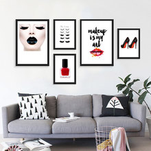 Modern fashion beauty women art canvas prints clothing shop paintings Cosmetics store Wall pictures home decor no frame DP0412