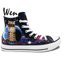 Wen Hand Painted Shoes Men Women's Shoes Dalek Tardis Doctor Who High Top Canvas Sneakers for Gifts