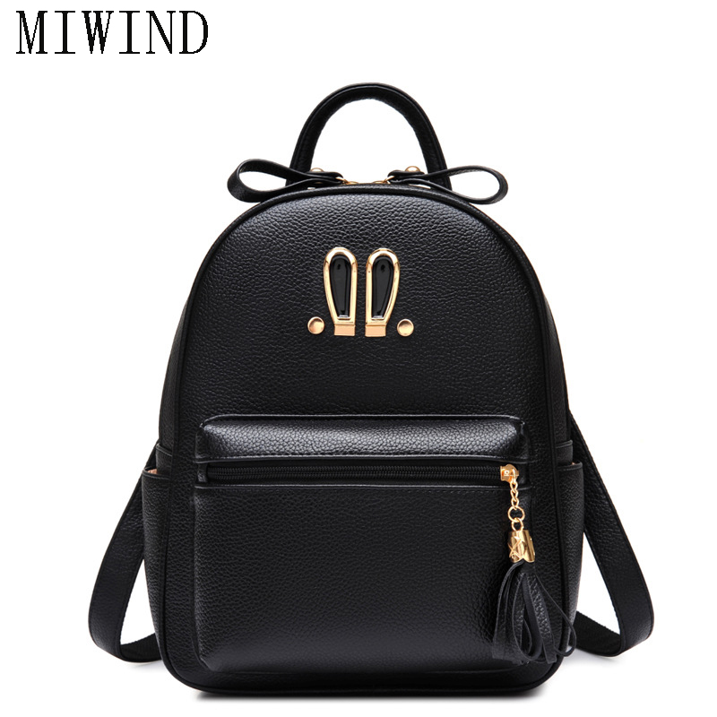 MIWIND Cute Rabbit Ears Women PU Leather Backpack College Women School Backpack Travel Bags TBB664