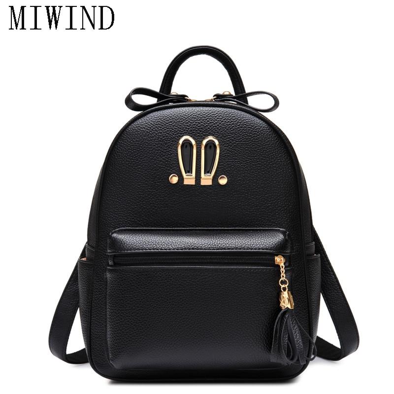 MIWIND Cute Rabbit Ears Women PU Leather Backpack College Women School Backpack Travel Bags TBB664 miwind 100