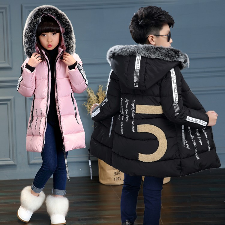 Winter Childrens Clothing Kids Down Cotton Outerwear Wadded Jacket Child medium-long Thickening Cotton-padded Coat girls clothes double breasted cotton padded jacket stand collar middle aged mother quilted coat plus size women winter wadded outerwear xh499