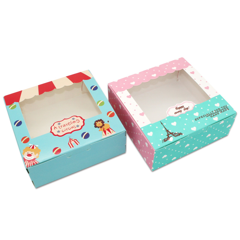 100 pcs Paper box windows wedding party kids birthday 13.5x13.5x5cm cake kraft gift paper packaging food baking candy cookies