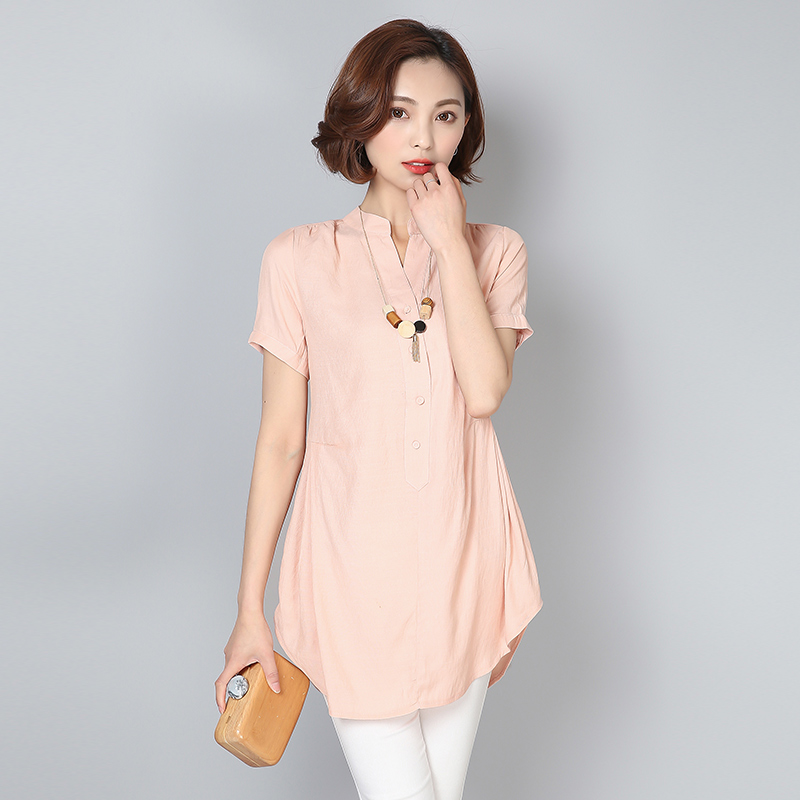Plus Size 2017 Summer Brief Women Shirts Solid Loose Short Sleeve V-Neck Cotton And Linen Long Blouse Shirt Gray White Pink 552