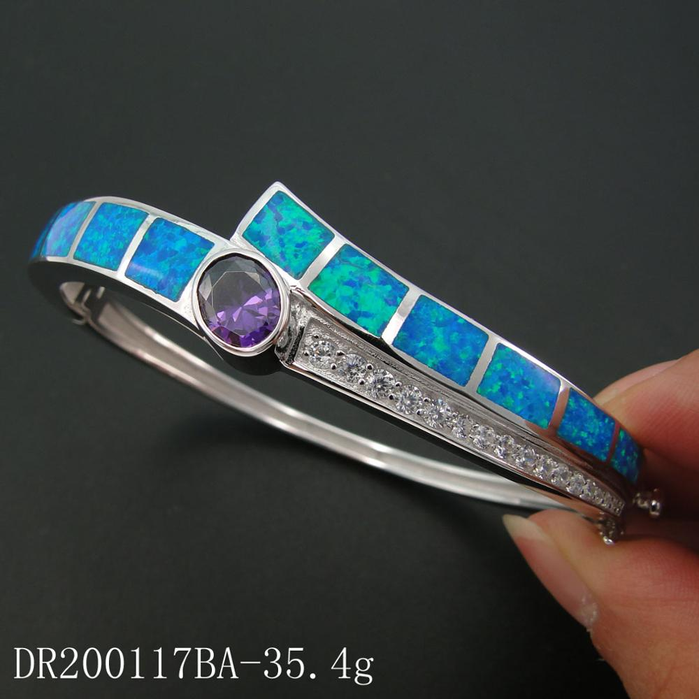 DJ CH Fire Opal Amethyst Bangle Bracelets 925 Sterling Silver Bangle Jewelry Gifts For Woman