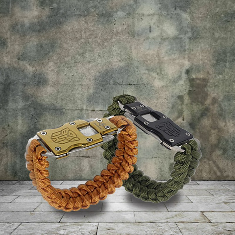 2018 New Outdoor Survival Multi Functional EDC Tactical 7 Core Umbrella Rope Bracelet With Packet Knife Transformer Self Defense self defense transformer multi functional edc knife