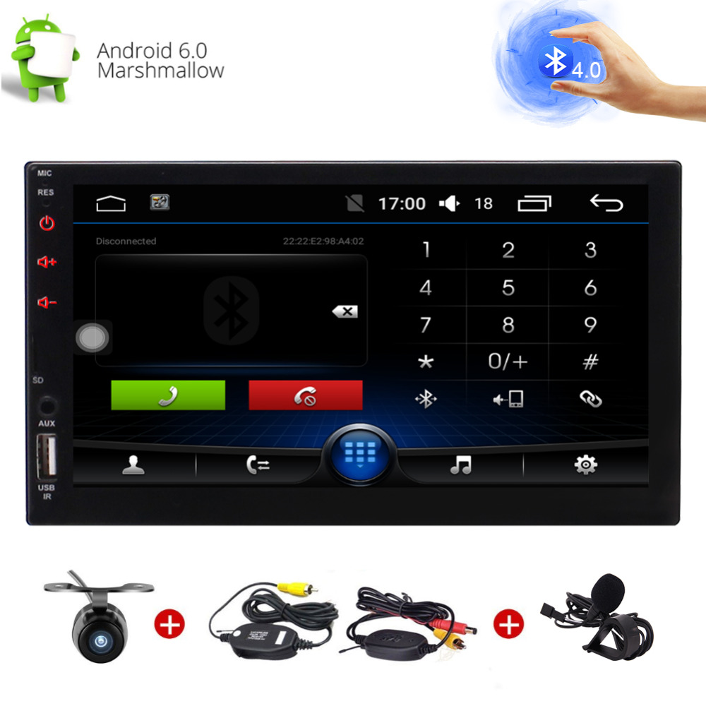 Wireless Reverse Camera Android 6.0 Quad core Car Stereo System 7'' Touchscreen GPS Navigation Radio headunit Bluetooth 4.0
